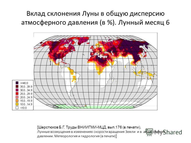 Вклад склонения Луны в общую дисперсию атмосферного давления (в %). Лунный месяц 6 [Шерстюков Б.Г. Труды ВНИИГМИ-МЦД, вып.176 (в печати), Лунные возмущения в изменениях скорости вращения Земли и в атмосферном давлении. Метеорология и гидрология (в пе