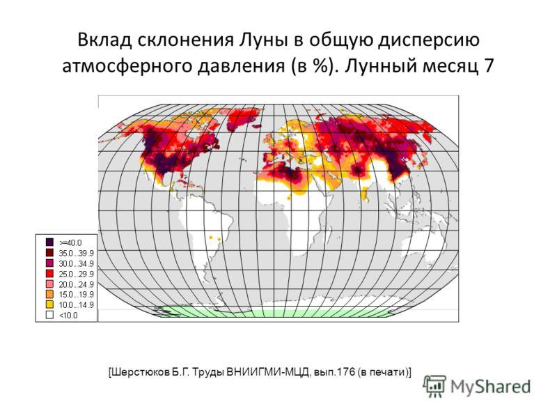 Вклад склонения Луны в общую дисперсию атмосферного давления (в %). Лунный месяц 7 [Шерстюков Б.Г. Труды ВНИИГМИ-МЦД, вып.176 (в печати)]