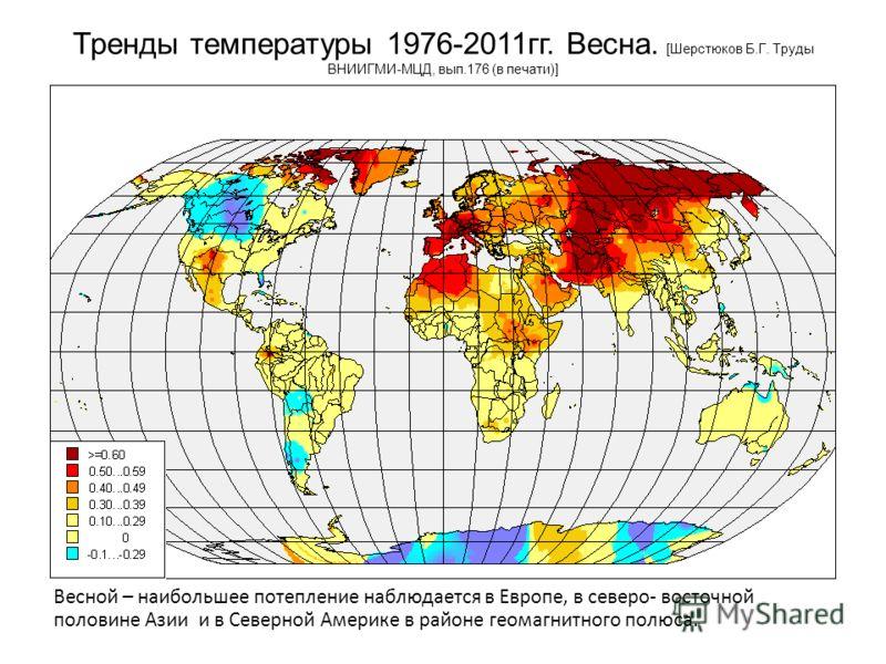 Тренды температуры 1976-2011гг. Весна. [Шерстюков Б.Г. Труды ВНИИГМИ-МЦД, вып.176 (в печати)] Весной – наибольшее потепление наблюдается в Европе, в северо- восточной половине Азии и в Северной Америке в районе геомагнитного полюса.