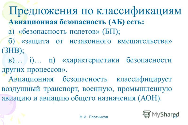Н.И. Плотников 19 Предложения по классификациям Авиационная безопасность (АБ) есть: а) «безопасность полетов» (БП); б) «защита от незаконного вмешательства» (ЗНВ); в)… i)… n) «характеристики безопасности других процессов». Авиационная безопасность кл