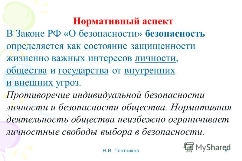 Н.И. Плотников 9 Нормативный аспект В Законе РФ «О безопасности» безопасность определяется как состояние защищенности жизненно важных интересов личности, общества и государства от внутренних и внешних угроз. Противоречие индивидуальной безопасности л