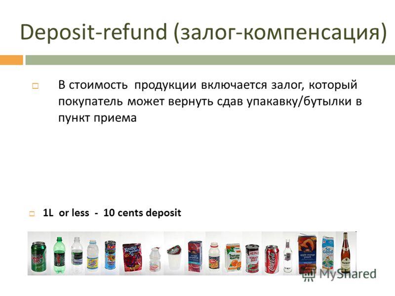 Deposit-refund (залог-компенсация) 1L or less - 10 cents deposit В стоимость продукции включается залог, который покупатель может вернуть сдав упакавку/бутылки в пункт приема