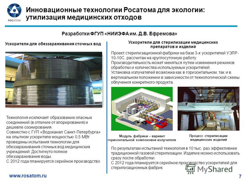 www.rosatom.ru 7 Инновационные технологии Росатома для экологии: утилизация медицинских отходов Ускорители для стерилизации медицинских препаратов и изделий Ускорители для обеззараживания сточных вод Технология исключает образование опасных соединени