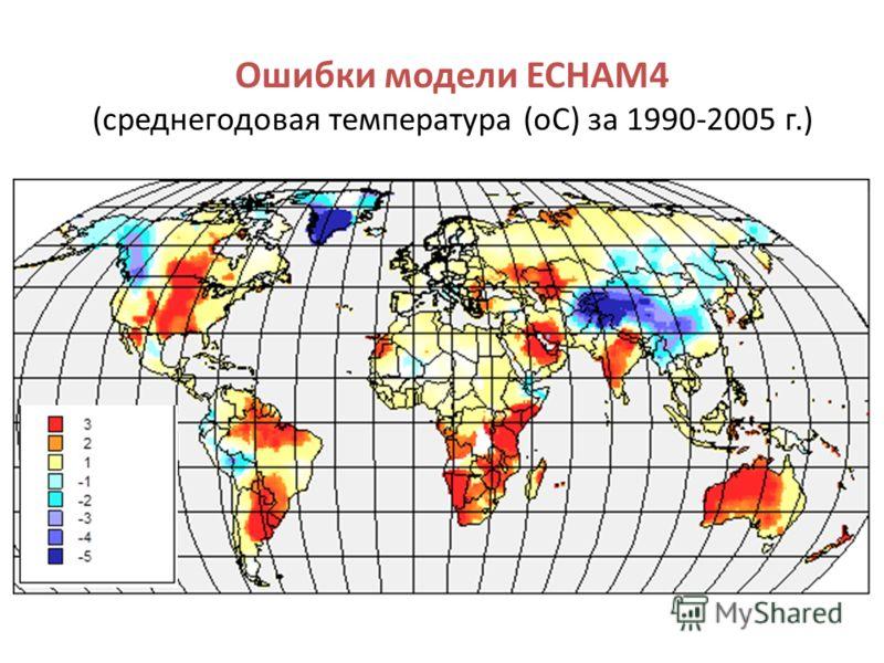 Ошибки модели ECHAM4 (среднегодовая температура (оС) за 1990-2005 г.)
