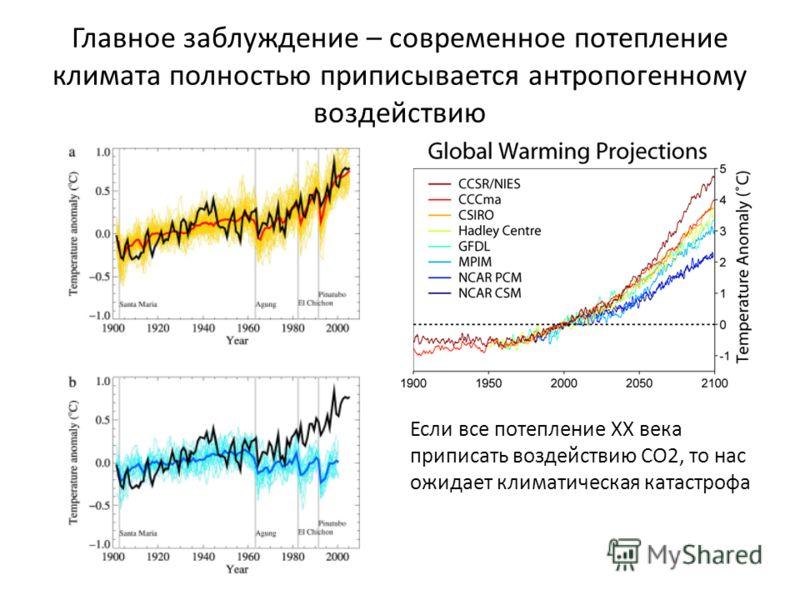 Главное заблуждение – современное потепление климата полностью приписывается антропогенному воздействию Если все потепление ХХ века приписать воздействию СО2, то нас ожидает климатическая катастрофа
