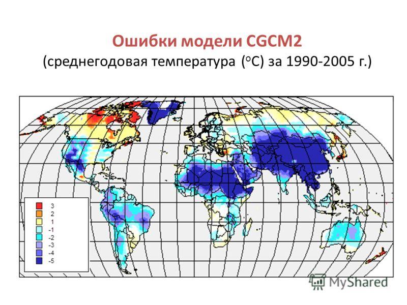 Ошибки модели CGCM2 (среднегодовая температура ( о С) за 1990-2005 г.)
