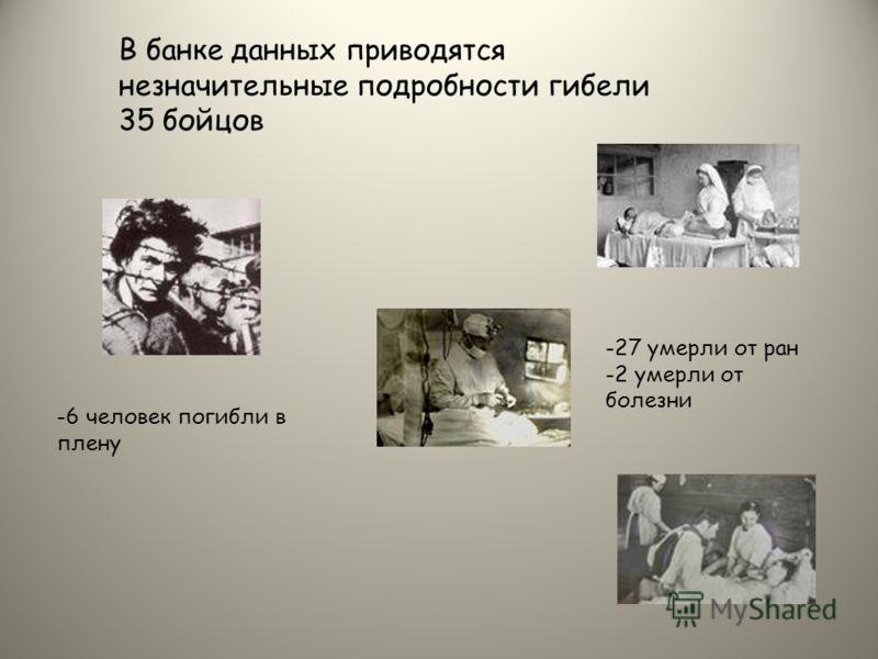 В банке данных приводятся незначительные подробности гибели 35 бойцов -6 человек погибли в плену -27 умерли от ран -2 умерли от болезни