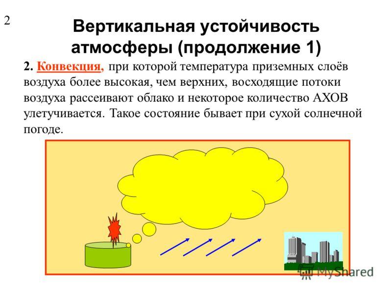 Вертикальную устойчивость атмосферы оценивают тремя состояниями: 1. Инверсия, когда нижние слои воздуха имеют более низкую температуру, чем верхние, концентрация АХОВ в приземном слое увеличивается, и зараженное облако распространяется на значительно