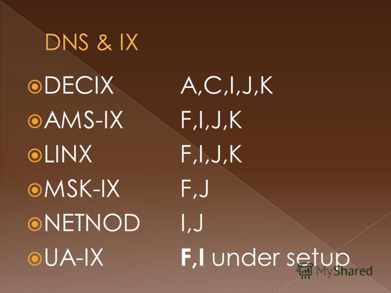 DECIX A,C,I,J,K AMS-IXF,I,J,K LINX F,I,J,K MSK-IX F,J NETNOD I,J UA-IX F,I under setup