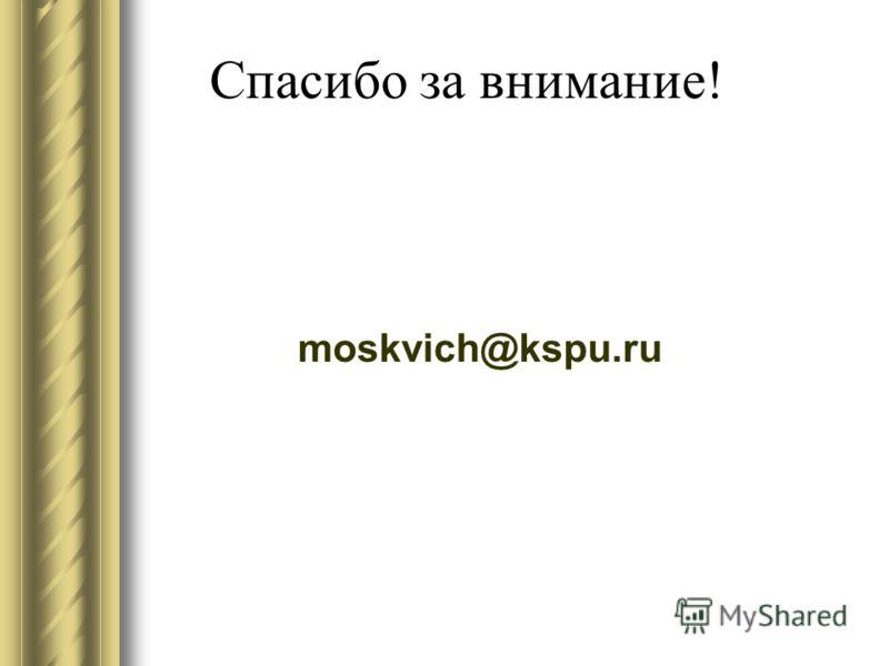 Спасибо за внимание! moskvich@kspu.ru