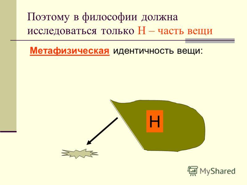 Поэтому в философии должна исследоваться только Н – часть вещи Метафизическая идентичность вещи: Н