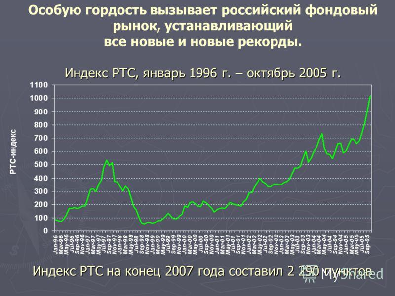 Индекс РТС, январь 1996 г. – октябрь 2005 г. Особую гордость вызывает российский фондовый рынок, устанавливающий все новые и новые рекорды. Индекс РТС, январь 1996 г. – октябрь 2005 г. Индекс РТС на конец 2007 года составил 2 290 пунктов