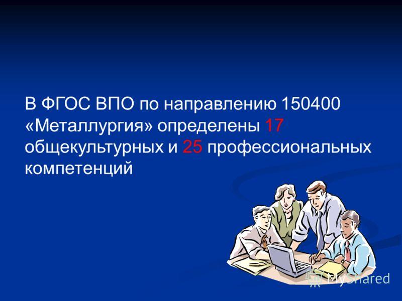 В ФГОС ВПО по направлению 150400 «Металлургия» определены 17 общекультурных и 25 профессиональных компетенций