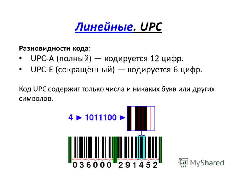 ЛинейныеЛинейные. UPC Разновидности кода: UPC-A (полный) кодируется 12 цифр. UPC-E (сокращённый) кодируется 6 цифр. Код UPC содержит только числа и никаких букв или других символов.