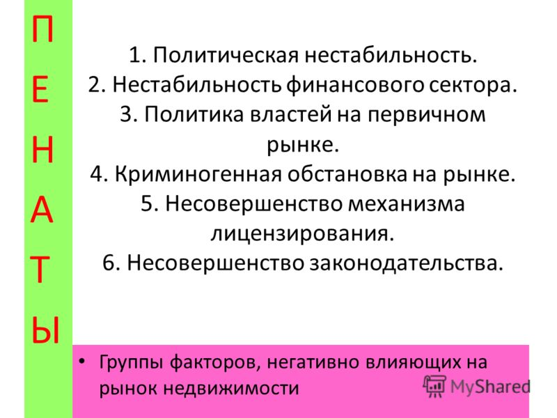 1.политические, 2.экономические, 3.социально- демографические, 4.технологические и 5.правовые. ПЕНАТЫПЕНАТЫ Группы факторов, влияющих на рынок недвижимости