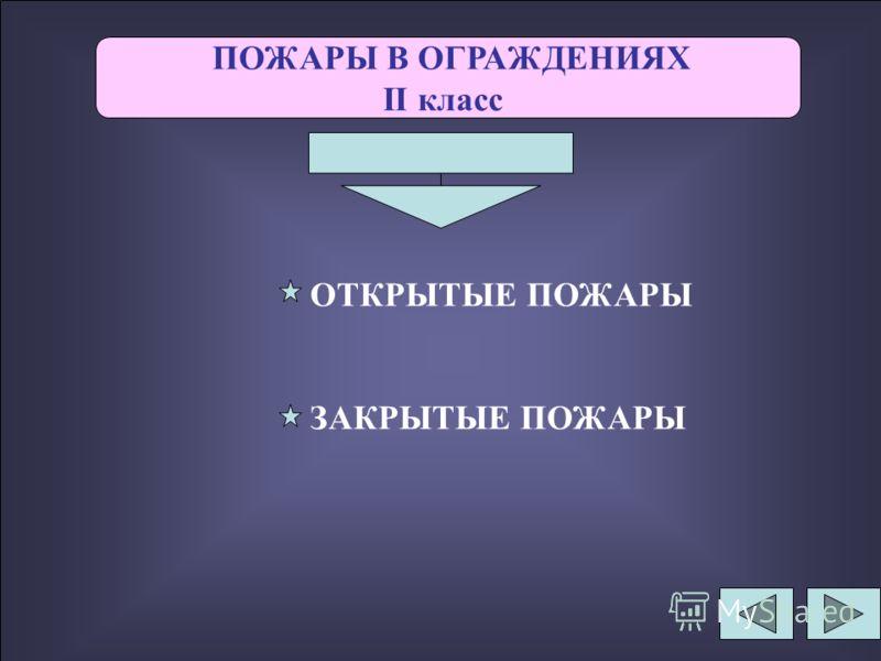 ПОЖАРЫ В ОГРАЖДЕНИЯХ II класс ОТКРЫТЫЕ ПОЖАРЫ ЗАКРЫТЫЕ ПОЖАРЫ