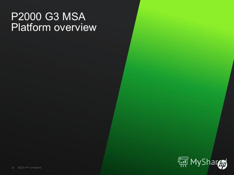 26 ©2009 HP Confidential26 P2000 G3 MSA Platform overview