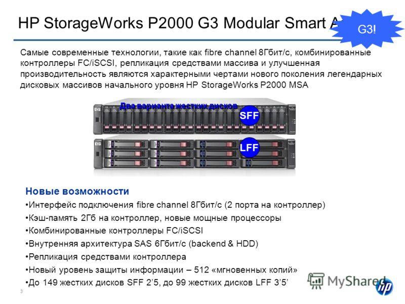 3 HP StorageWorks P2000 G3 Modular Smart Array SFF LFF Два варианта жестких дисков Самые современные технологии, такие как fibre channel 8Гбит/c, комбинированные контроллеры FC/iSCSI, репликация средствами массива и улучшенная производительность явля