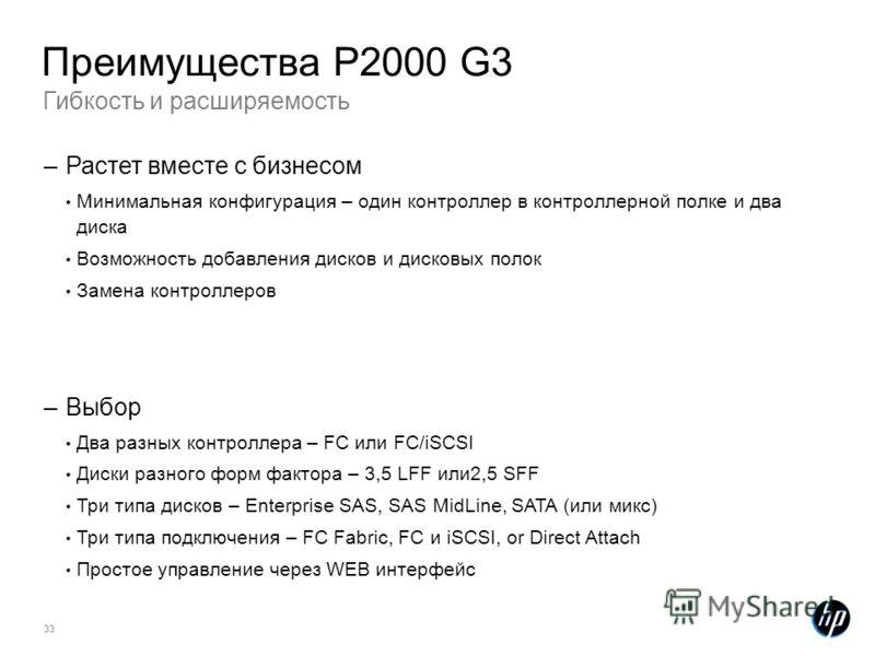 33 Гибкость и расширяемость Преимущества P2000 G3 –Растет вместе с бизнесом Минимальная конфигурация – один контроллер в контроллерной полке и два диска Возможность добавления дисков и дисковых полок Замена контроллеров –Выбор Два разных контроллера