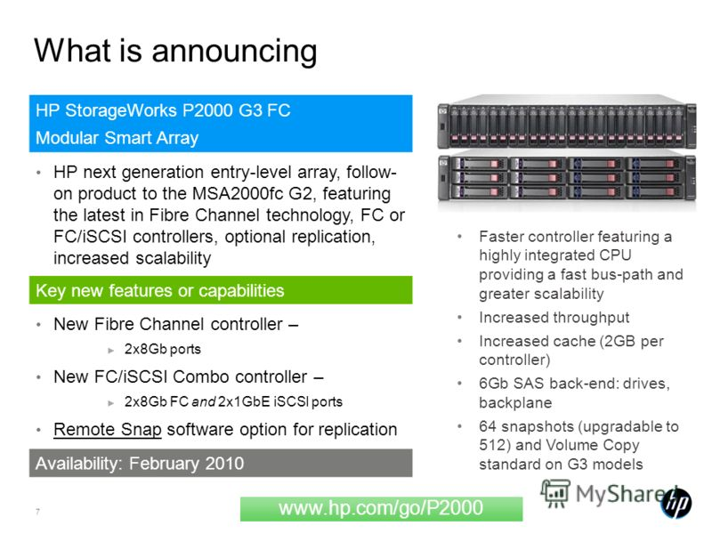 7 What is announcing HP StorageWorks P2000 G3 FC Modular Smart Array HP next generation entry-level array, follow- on product to the MSA2000fc G2, featuring the latest in Fibre Channel technology, FC or FC/iSCSI controllers, optional replication, inc