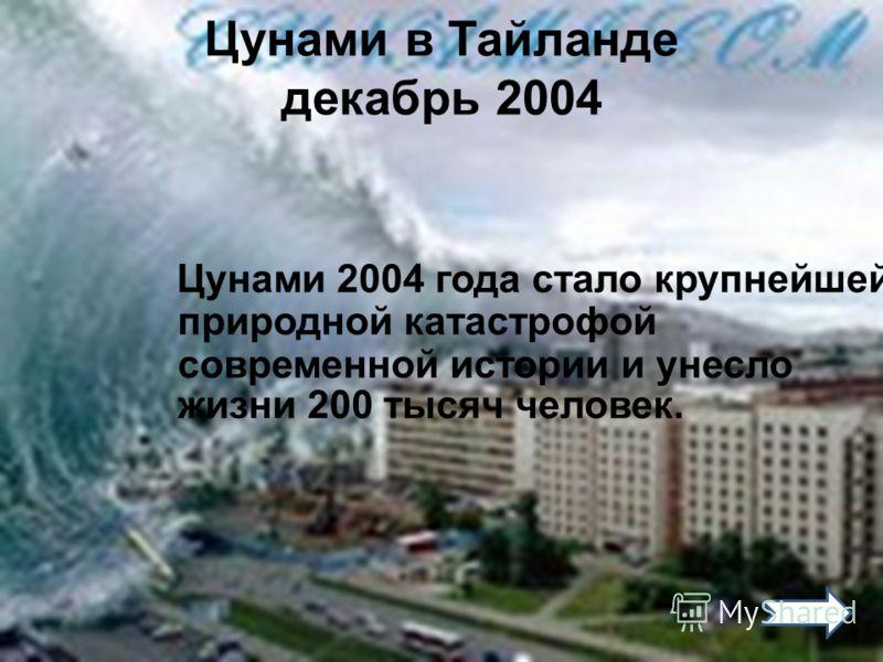 Цунами в Тайланде декабрь 2004 Цунами 2004 года стало крупнейшей природной катастрофой современной истории и унесло жизни 200 тысяч человек.