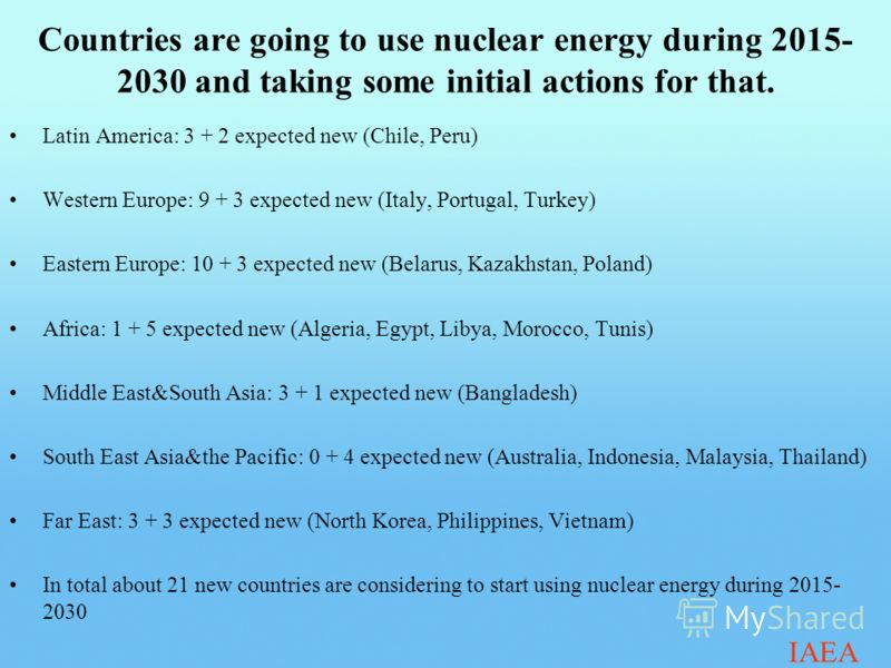 Countries are going to use nuclear energy during 2015- 2030 and taking some initial actions for that. Latin America: 3 + 2 expected new (Chile, Peru) Western Europe: 9 + 3 expected new (Italy, Portugal, Turkey) Eastern Europe: 10 + 3 expected new (Be