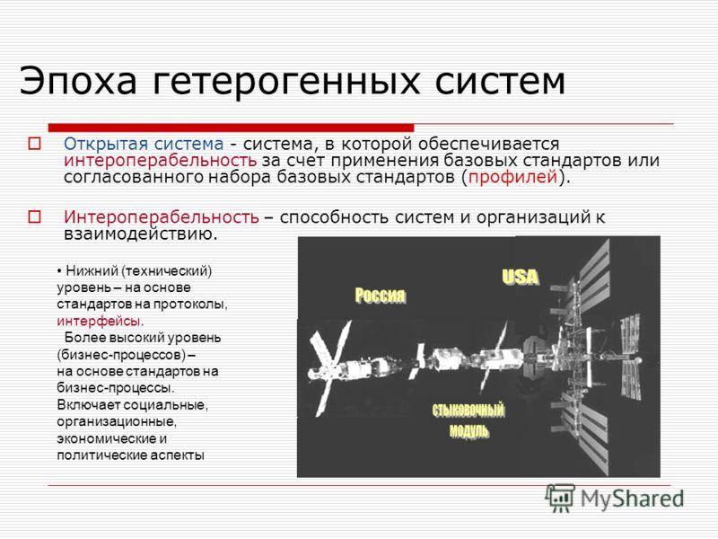 Эпоха гетерогенных систем Открытая система - система, в которой обеспечивается интероперабельность за счет применения базовых стандартов или согласованного набора базовых стандартов (профилей). Интероперабельность – способность систем и организаций к
