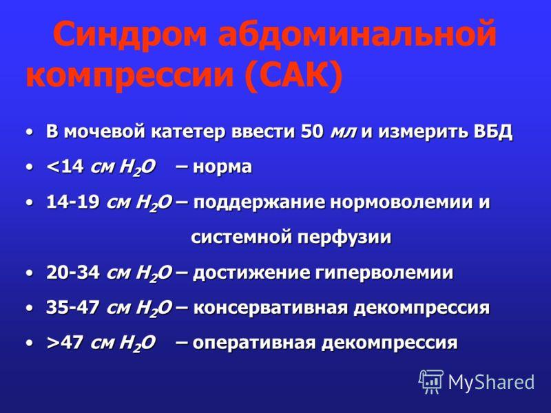 В мочевой катетер ввести 50 мл и измерить ВБДВ мочевой катетер ввести 50 мл и измерить ВБД 47 см Н 2 О – оперативная декомпрессия Синдром абдоминальной компрессии (САК)