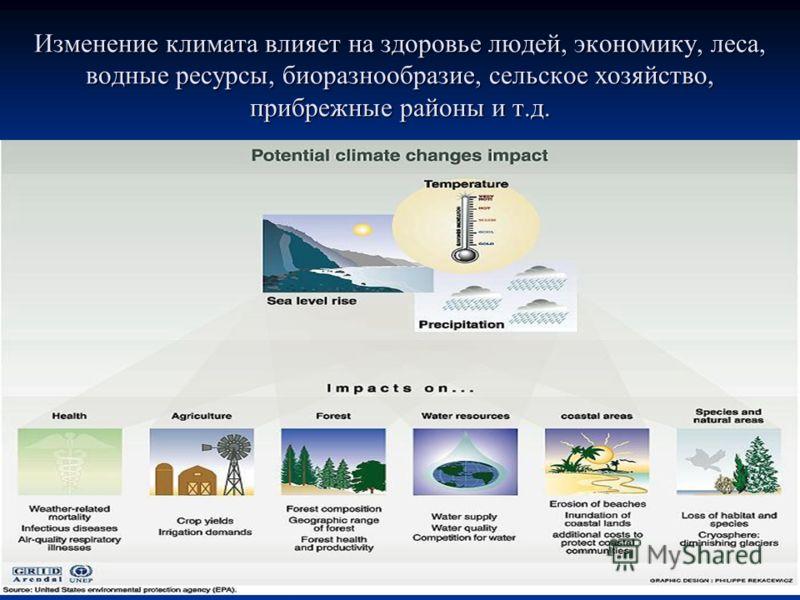 Изменение климата влияет на здоровье людей, экономику, леса, водные ресурсы, биоразнообразие, сельское хозяйство, прибрежные районы и т.д.