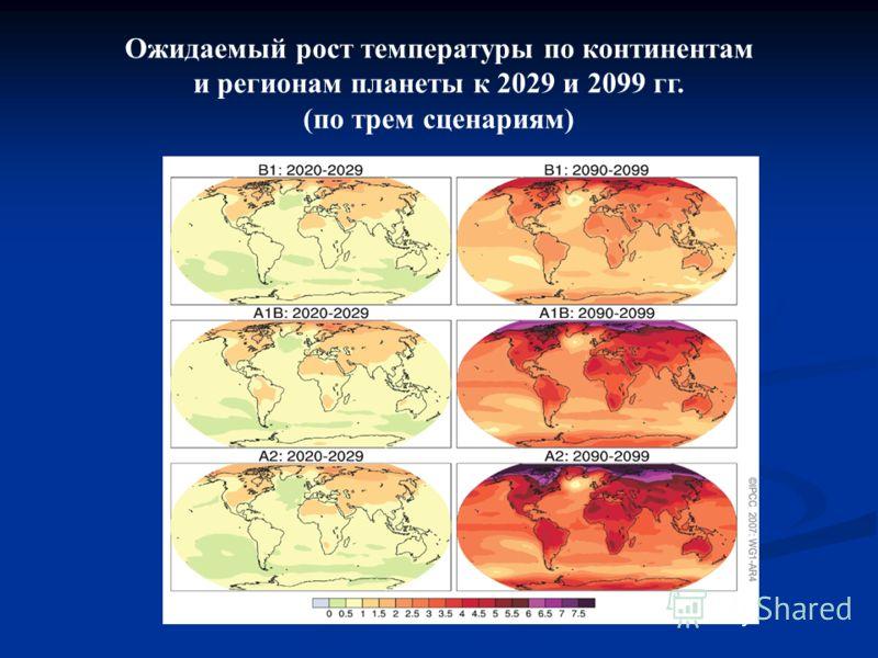 Ожидаемый рост температуры по континентам и регионам планеты к 2029 и 2099 гг. (по трем сценариям)