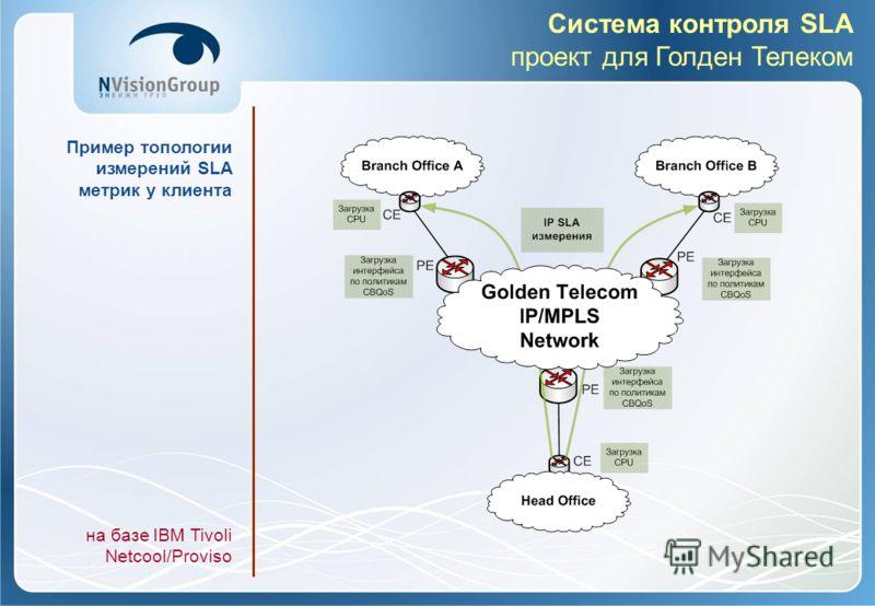 Система контроля SLA проект для Голден Телеком Пример топологии измерений SLA метрик у клиента на базе IBM Tivoli Netcool/Proviso