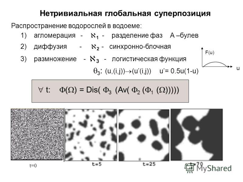 Нетривиальная глобальная суперпозиция t=0 t: ( ) = Dis( 3 (Av( 2 ( 1 ( ))))) Распространение водорослей в водоеме: 1) агломерация - 1 - разделение фаз А –булев 2) диффузия - 2 - синхронно-блочная 3) размножение - 3 - логистическая функция F(u) 3 : (u