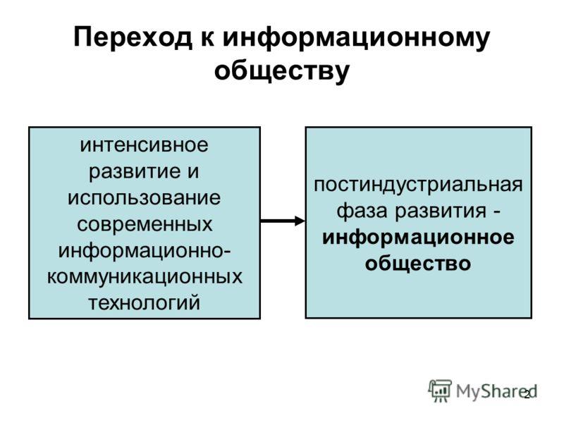 2 Переход к информационному обществу интенсивное развитие и использование современных информационно- коммуникационных технологий постиндустриальная фаза развития - информационное общество