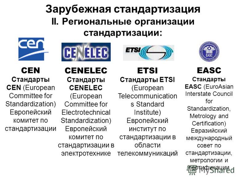 Зарубежная стандартизация II. Региональные организации стандартизации: CEN Стандарты CEN (European Committee for Standardization) Европейский комитет по стандартизации CENELEC Стандарты CENELEC (European Committee for Electrotechnical Standardization