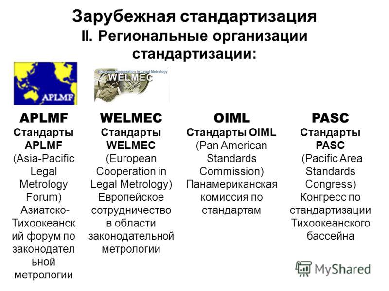 Зарубежная стандартизация II. Региональные организации стандартизации: APLMF Стандарты APLMF (Asia-Pacific Legal Metrology Forum) Азиатско- Тихоокеанск ий форум по законодател ьной метрологии WELMEC Стандарты WELMEC (European Cooperation in Legal Met