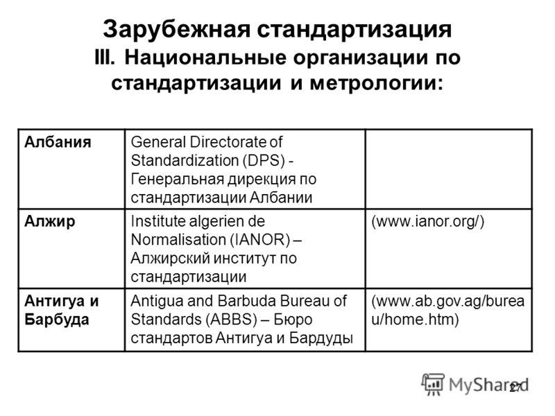27 Зарубежная стандартизация III. Национальные организации по стандартизации и метрологии: АлбанияGeneral Directorate of Standardization (DPS) - Генеральная дирекция по стандартизации Албании АлжирInstitute algerien de Normalisation (IANOR) – Алжирск
