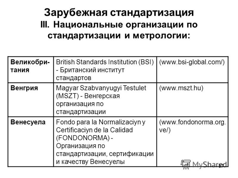 37 Зарубежная стандартизация III. Национальные организации по стандартизации и метрологии: Великобри- тания British Standards Institution (BSI) - Британский институт стандартов (www.bsi-global.com/) ВенгрияMagyar Szabvanyugyi Testulet (MSZT) - Венгер