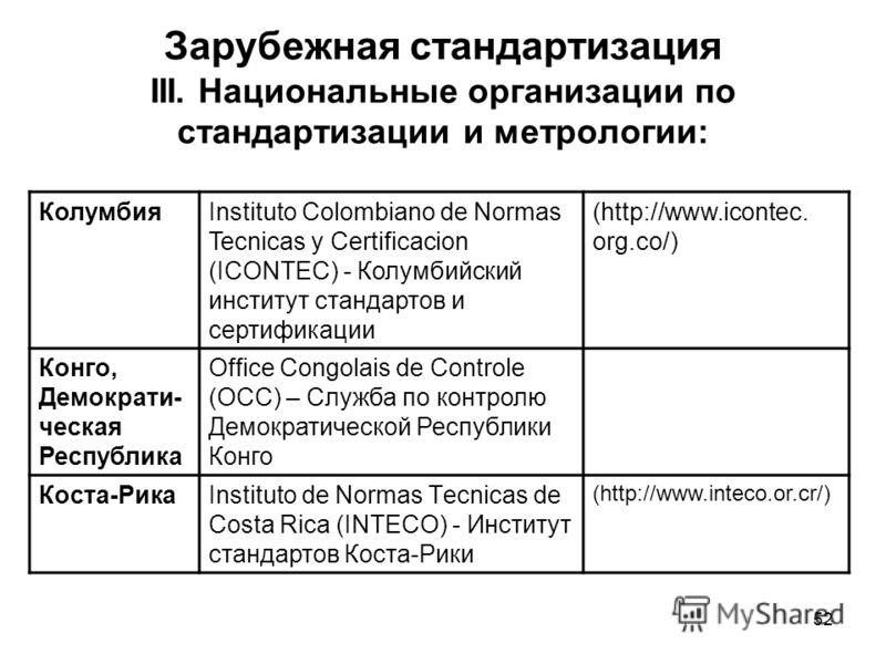 52 Зарубежная стандартизация III. Национальные организации по стандартизации и метрологии: КолумбияInstituto Colombiano de Normas Tecnicas y Certificacion (ICONTEC) - Колумбийский институт стандартов и сертификации (http://www.icontec. org.co/) Конго