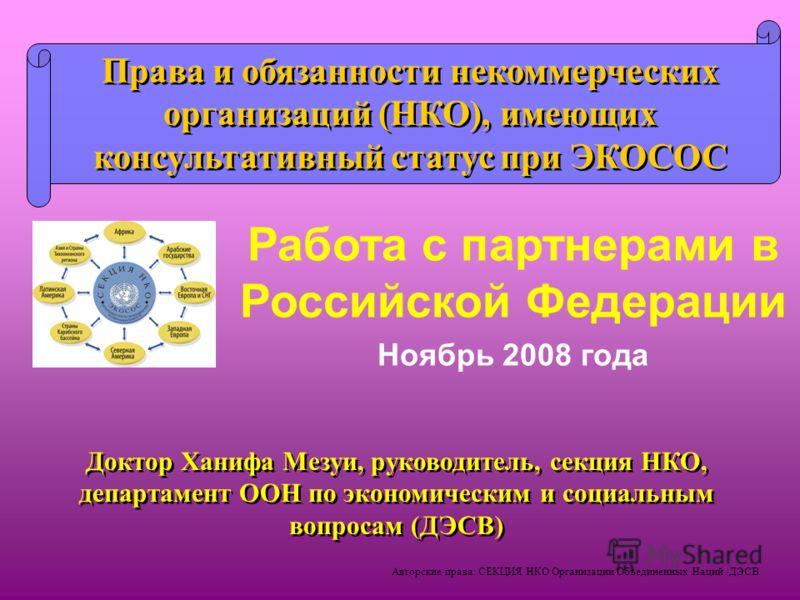 Авторские права: СЕКЦИЯ НКО Организации Объединенных Наций /ДЭСВ Доктор Ханифа Мезуи, руководитель, секция НКО, департамент ООН по экономическим и социальным вопросам (ДЭСВ) Права и обязанности некоммерческих организаций (НКО), имеющих консультативны