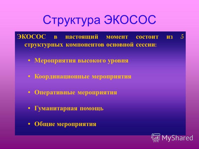 Структура ЭКОСОС ЭКОСОС в настоящий момент состоит из 5 структурных компонентов основной сессии : Мероприятия высокого уровня Координационные мероприятия Оперативные мероприятия Гуманитарная помощь Общие мероприятия
