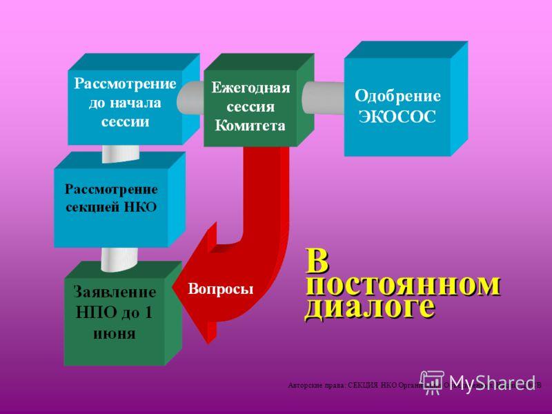 Авторские права: СЕКЦИЯ НКО Организации Объединенных Наций /ДЭСВ В постоянном диалоге