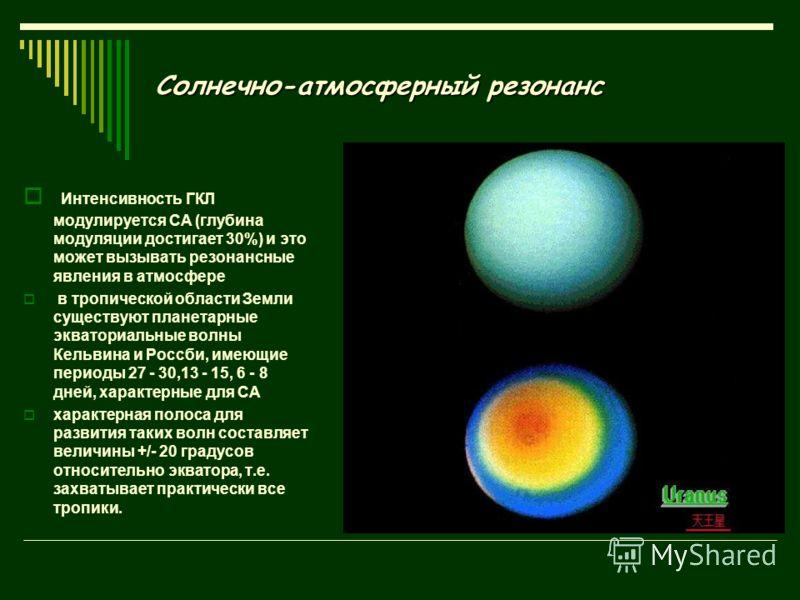 Солнечно-атмосферный резонанс Интенсивность ГКЛ модулируется СА (глубина модуляции достигает 30%) и это может вызывать резонансные явления в атмосфере в тропической области Земли существуют планетарные экваториальные волны Кельвина и Россби, имеющие