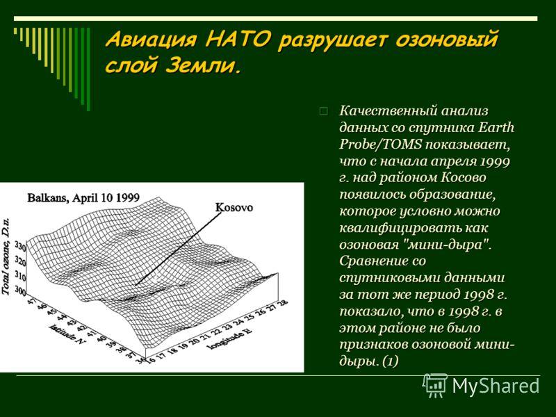 Авиация НАТО разрушает озоновый слой Земли. Качественный анализ данных со спутника Earth Probe/TOMS показывает, что с начала апреля 1999 г. над районом Косово появилось образование, которое условно можно квалифицировать как озоновая