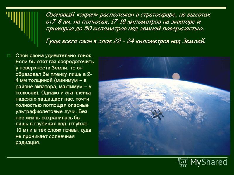 Озоновый «экран» расположен в стратосфере, на высотах от7-8 км. на полюсах, 17-18 километров на экваторе и примерно до 50 километров над земной поверхностью. Гуще всего озон в слое 22 – 24 километров над Землей. Слой озона удивительно тонок. Если бы