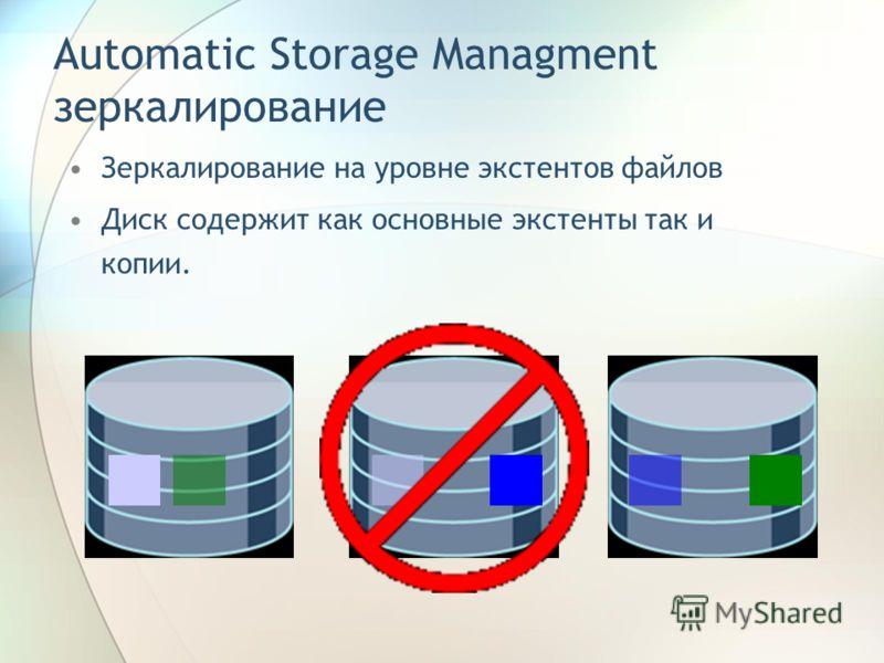 Automatic Storage Managment зеркалирование Зеркалирование на уровне экстентов файлов Диск содержит как основные экстенты так и копии.