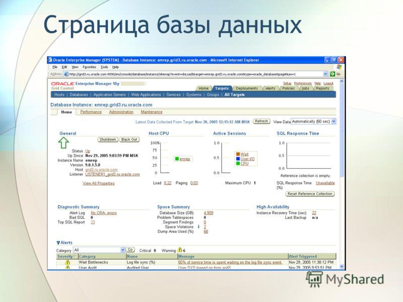 Страница базы данных