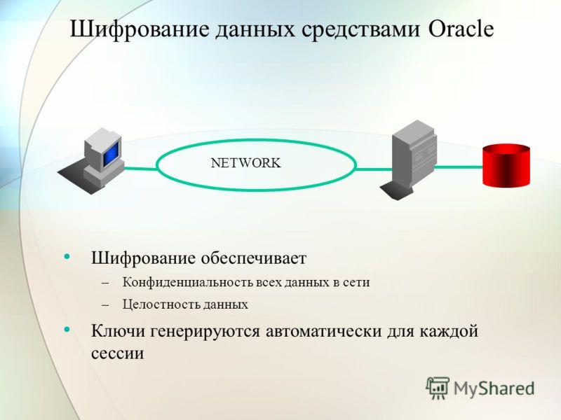 Шифрование данных средствами Oracle Шифрование обеспечивает –Конфиденциальность всех данных в сети –Целостность данных Ключи генерируются автоматически для каждой сессии NETWORK