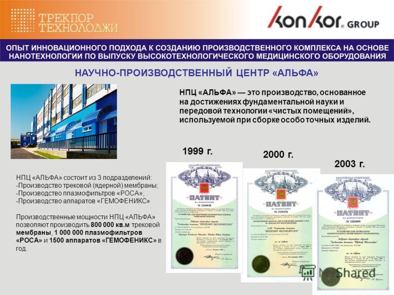 2003 г. 1999 г. 2000 г. НПЦ «АЛЬФА» состоит из 3 подразделений: -Производство трековой (ядерной) мембраны; -Производство плазмофильтров «РОСА»; -Производство аппаратов «ГЕМОФЕНИКС» Производственные мощности НПЦ «АЛЬФА» позволяют производить 800 000 к
