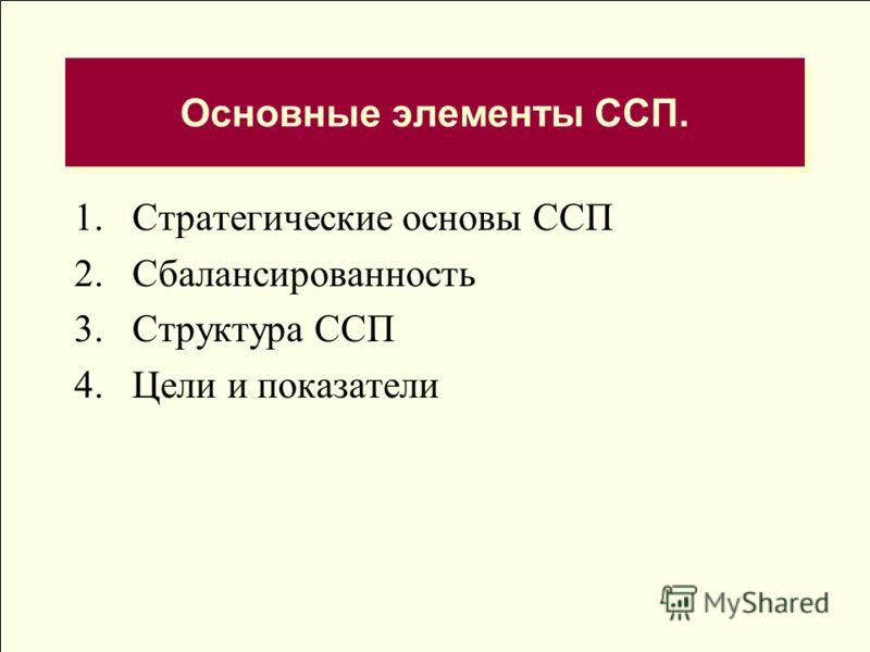 Основные элементы ССП. 1.Стратегические основы ССП 2.Сбалансированность 3.Структура ССП 4.Цели и показатели