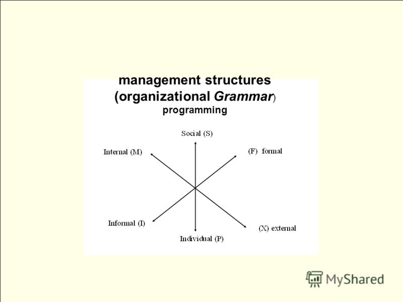 management structures (organizational Grammar ) programming